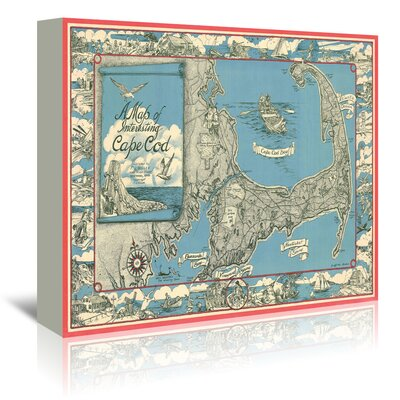 Americanflat 'Miller Map of Cape Cod Ma' by Graffi Tee Studios Graphic Art Wrapped on Canvas