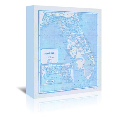 Americanflat 'Florida Map' by Graffi Tee Studios Graphic Art Wrapped on Canvas