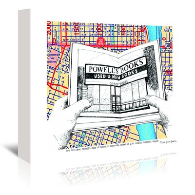Americanflat 'Powells Books Portland' by Lyn Nance Sasser and Stephen Sasser Graphic Art Wrapped on Canvas