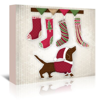 Americanflat Dog with Christmas stockings' by Kristin Van Handel Art Print Wrapped on Canvas