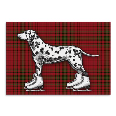 Americanflat 'Dog on Ice Skates with Tartan Background' by Kristin Van Handel Graphic Art