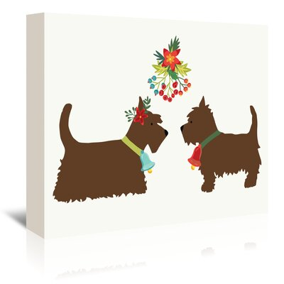 Americanflat Dogs Under Mistletoe' by Kristin Van Handel Art Print Wrapped on Canvas