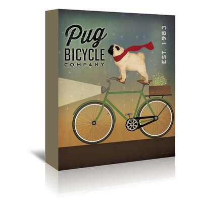 Americanflat 'Pug on A Bike' by Wild Apple Graphic Art Wrapped on Canvas