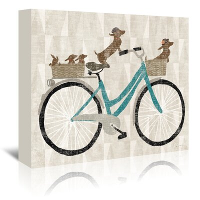 Americanflat Doxie Ride Ver II' by Wild Apple Graphic Art Wrapped on Canvas