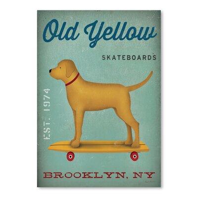Americanflat 'Golden Dog Skateboard' by Wild Apple Graphic Art