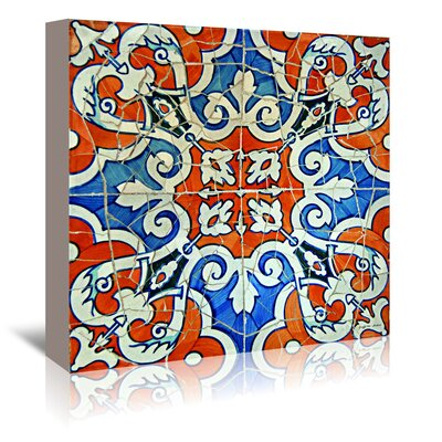Americanflat 'Gaudi Mosaic Orange and Blue' by Graffi Tee Studios Graphic Art Wrapped on Canvas