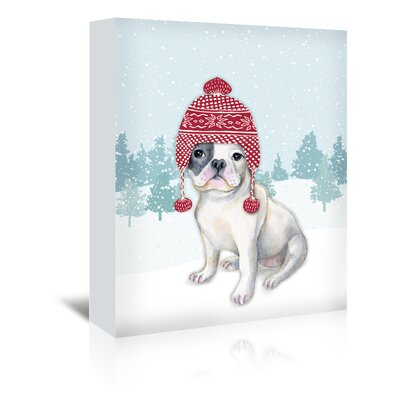 Americanflat 'Dog with Hat in Snow' by Kristin Van Handel Graphic Art Wrapped on Canvas