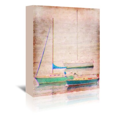 Americanflat Aqua Sail Boats' by Graffi Tee Studios Graphic Art Wrapped on Canvas
