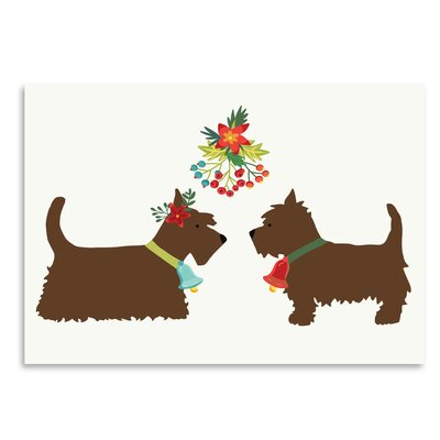 Americanflat 'Dogs Under Mistletoe' by Kristin Van Handel Graphic Art