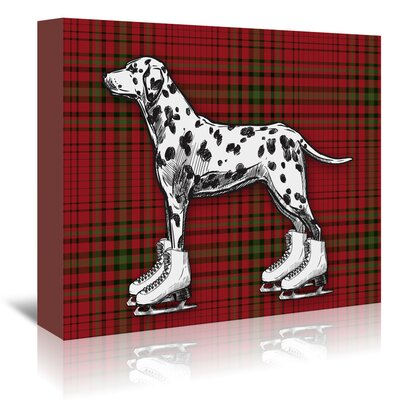 Americanflat 'Dog on Ice Skates with Tartan Background' by Kristin Van Handel Graphic Art Wrapped on Canvas