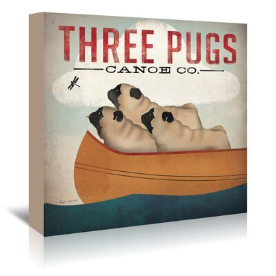 Americanflat Three Pugs' by Wild Apple Vintage Advertisement Wrapped on Canvas