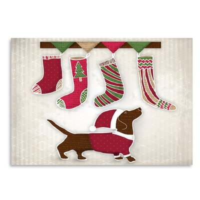 Americanflat 'Dog with Christmas stockings' by Kristin Van Handel Graphic Art