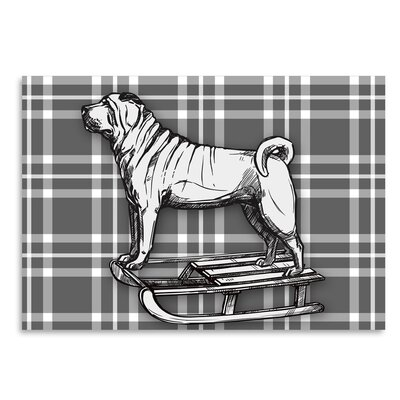 Americanflat 'Pug on Sled with BW' by Kristin Van Handel Graphic Art