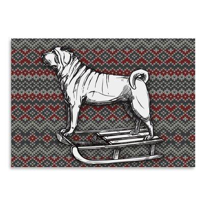Americanflat 'Dog on Sled' by Kristin Van Handel Graphic Art
