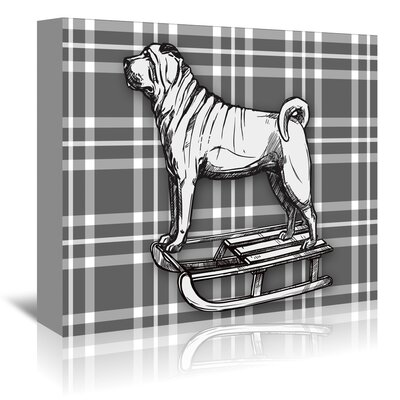 Americanflat 'Pug on Sled with BW' by Kristin Van Handel Graphic Art Wrapped on Canvas