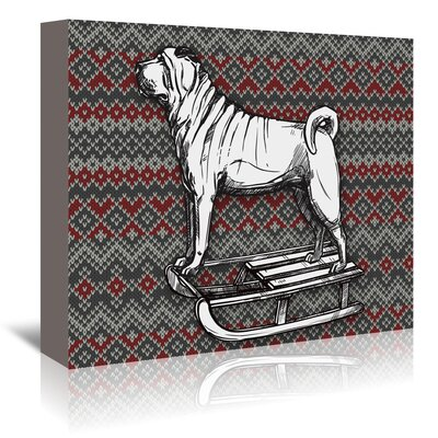 Americanflat 'Dog on Sled' by Kristin Van Handel Graphic Art Wrapped on Canvas
