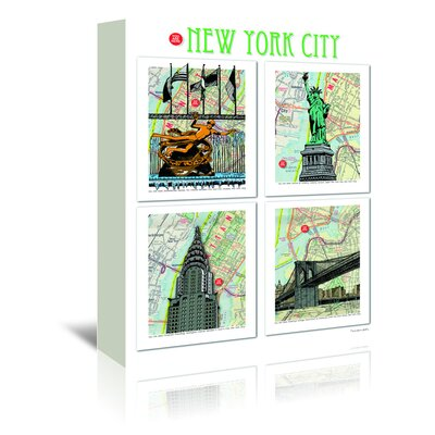 Americanflat 'New York City Poster' by Lyn Nance Sasser and Stephen Sasser Graphic Art Wrapped on Canvas