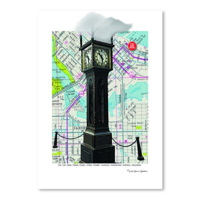 Americanflat 'Gastown Clock Vancouver Bc' by Lyn Nance Sasser and Stephen Sasser Graphic Art