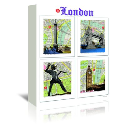 Americanflat 'London Poster' by Lyn Nance Sasser and Stephen Sasser Graphic Art Wrapped on Canvas