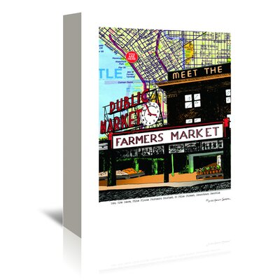 Americanflat 'Pike Place Market Seattle' by Lyn Nance Sasser and Stephen Sasser Graphic Art Wrapped on Canvas