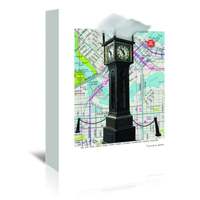 Americanflat Gastown Clock Vancouver Bc' by Lyn Nance Sasser Graphic Art Wrapped on Canvas