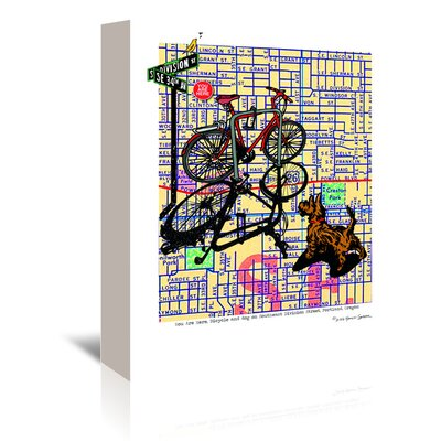 Americanflat 'Bicycle and Dog Division Portland' by Lyn Nance Sasser and Stephen Sasser Graphic Art Wrapped on Canvas