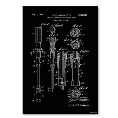 Americanflat 'Combo Screwdriver Socket Wrench Patent' by Graffi Tee Studios Graphic Art