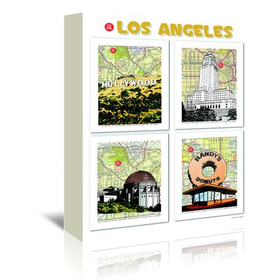 Americanflat Los Angeles Poster' by Lyn Nance Sasser Graphic Art Wrapped on Canvas