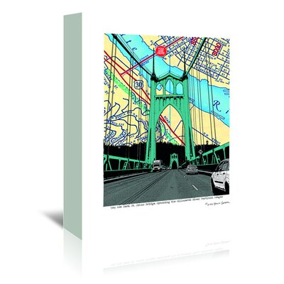 Americanflat 'St. Johns Bridge Portland' by Lyn Nance Sasser and Stephen Sasser Graphic Art Wrapped on Canvas