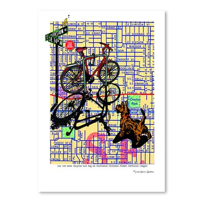 Americanflat Bicycle and Dog Division Portland' by Lyn Nance Sasser Graphic Art
