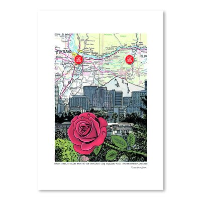 Americanflat 'Mt. Hood and Portland Skyline with Rose' by Lyn Nance Sasser and Stephen Sasser Graphic Art