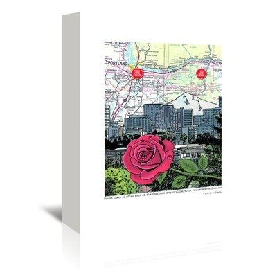 Americanflat 'Mt. Hood and Portland Skyline with Rose' by Lyn Nance Sasser and Stephen Sasser Graphic Art Wrapped on Canvas