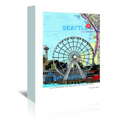 Americanflat 'Seattle Great Wheel' by Lyn Nance Sasser and Stephen Sasser Graphic Art Wrapped on Canvas