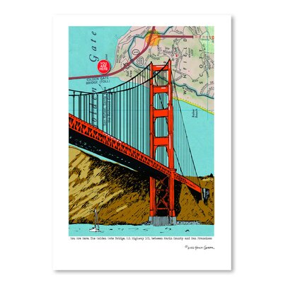 Americanflat 'Golden Gate Bridge - San Francisco' by Lyn Nance Sasser and Stephen Sasser Graphic Art