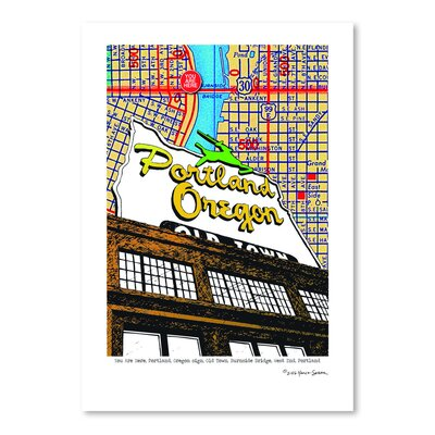 Americanflat Oregon Map Sign Old Town Portland' by Lyn Nance Sasser Graphic Art
