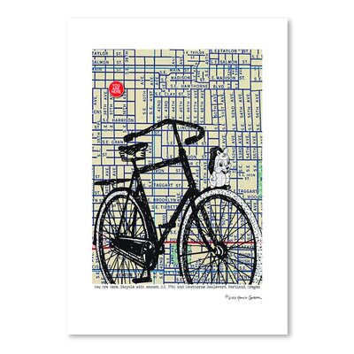 Americanflat 'Bicycle on Hawthorne Portland' by Lyn Nance Sasser and Stephen Sasser Graphic Art