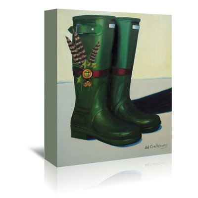 Americanflat Holiday Wellies' by JJ Galloway Art Print Wrapped on Canvas