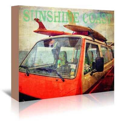 Americanflat 'Sunshine Coast Surf Bus' by Graffi Tee Studios Graphic Art Wrapped on Canvas