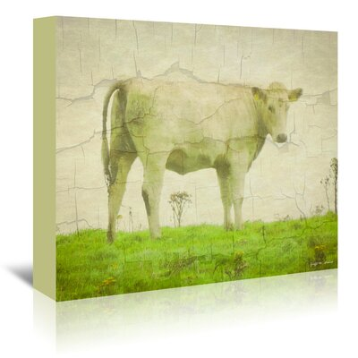 Americanflat White Cow' by Graffi Tee Studios Graphic Art Wrapped on Canvas