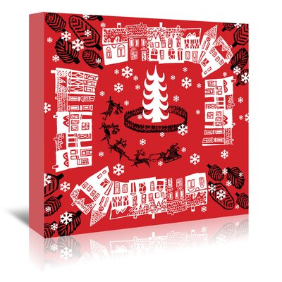 Americanflat 'Red Holiday Pattern' by Advocate Art Graphic Art Wrapped on Canvas