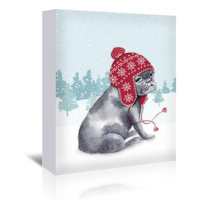 Americanflat Frenchie in snow' by Kristin Van Handel Art Print Wrapped on Canvas
