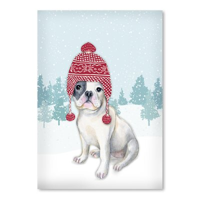 Americanflat 'Dog with Hat in Snow' by Kristin Van Handel Graphic Art