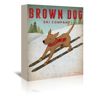 Americanflat 'Brown Dog Ski Co' by Wild Apple Graphic Art Wrapped on Canvas