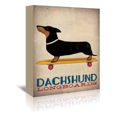Americanflat Dachshund Longboards' by Wild Apple Vintage Advertisement Wrapped on Canvas