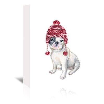 Americanflat 'Dog in Red Winter Hat' by Kristin Van Handel Graphic Art Wrapped on Canvas