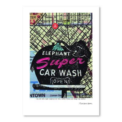 Americanflat 'Super Elephant Car Wash Seattle' by Lyn Nance Sasser and Stephen Sasser Vintage Advertisement