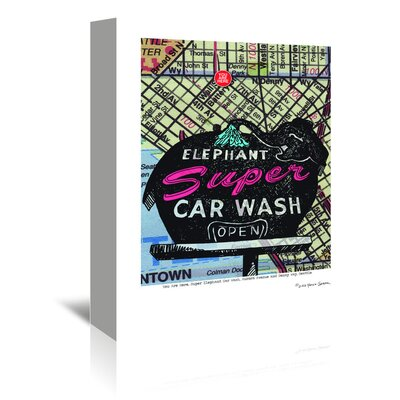 Americanflat Super Elephant Car Wash Seattle' by Lyn Nance Sasser Vintage Advertisement Wrapped on Canvas