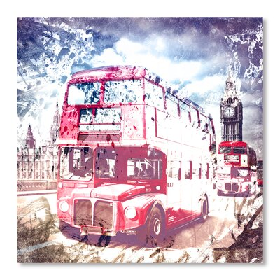 Americanflat City Art London Red Busses' by Melanie Viola Graphic Art