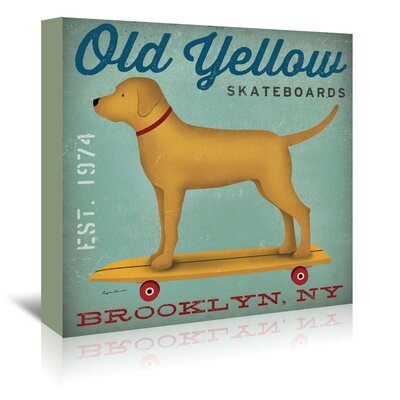 Americanflat 'Old Yellow Skateboards' by Wild Apple Vintage Advertisement Wrapped on Canvas