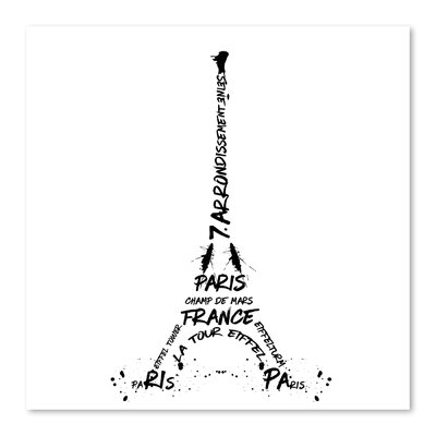 Americanflat 'Digital Art Eiffel Tower' by Melanie Viola Typography Wrapped on Canvas